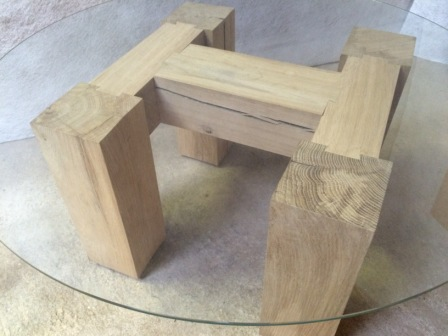 'H' Oak Table with glass top
