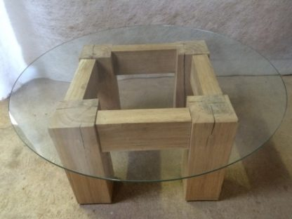 Square Oak Table with glass top